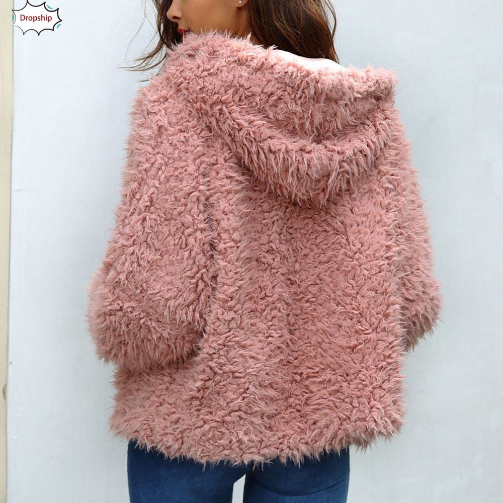 2019 Hot Womens Ladies Warm Faux Fur Coat Jacket Winter Solid   Parka   Hooded Outerwear Women's clothing DropShiping 18Oct17