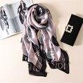 2017 nuevo lujo de la marca primavera verano mujeres bufanda bufandas de seda impresión de la manera femenina pañuelo chal señora soft foulard