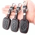 Кожаный чехол для ключей с 2 кнопками для Renault Dacia Logan Espace Sandero Megane Modus Kangoo Clio