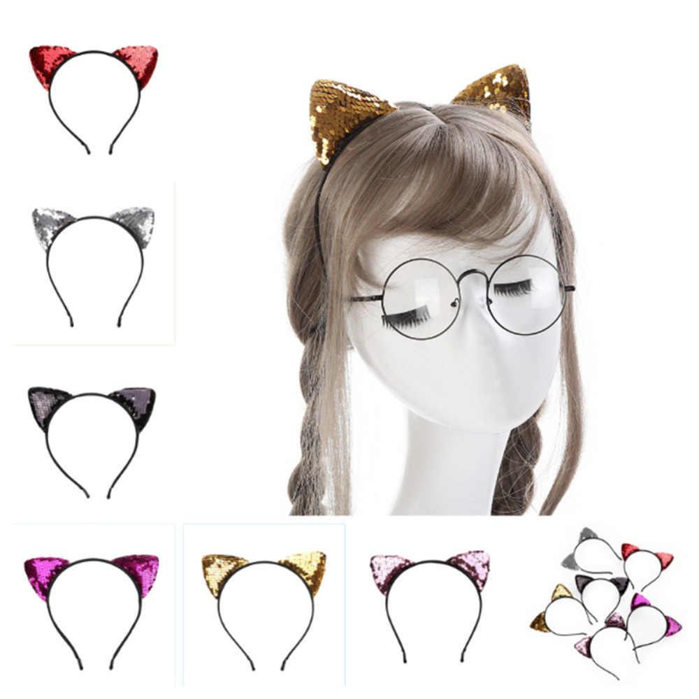 Блестящая повязка для волос с блестками и кошачьими ушками для девочек, повязка для волос, обруч для волос для девочек, женские резинки для волос с кошачьими ушками, головной убор для Хеллоуина, подарки