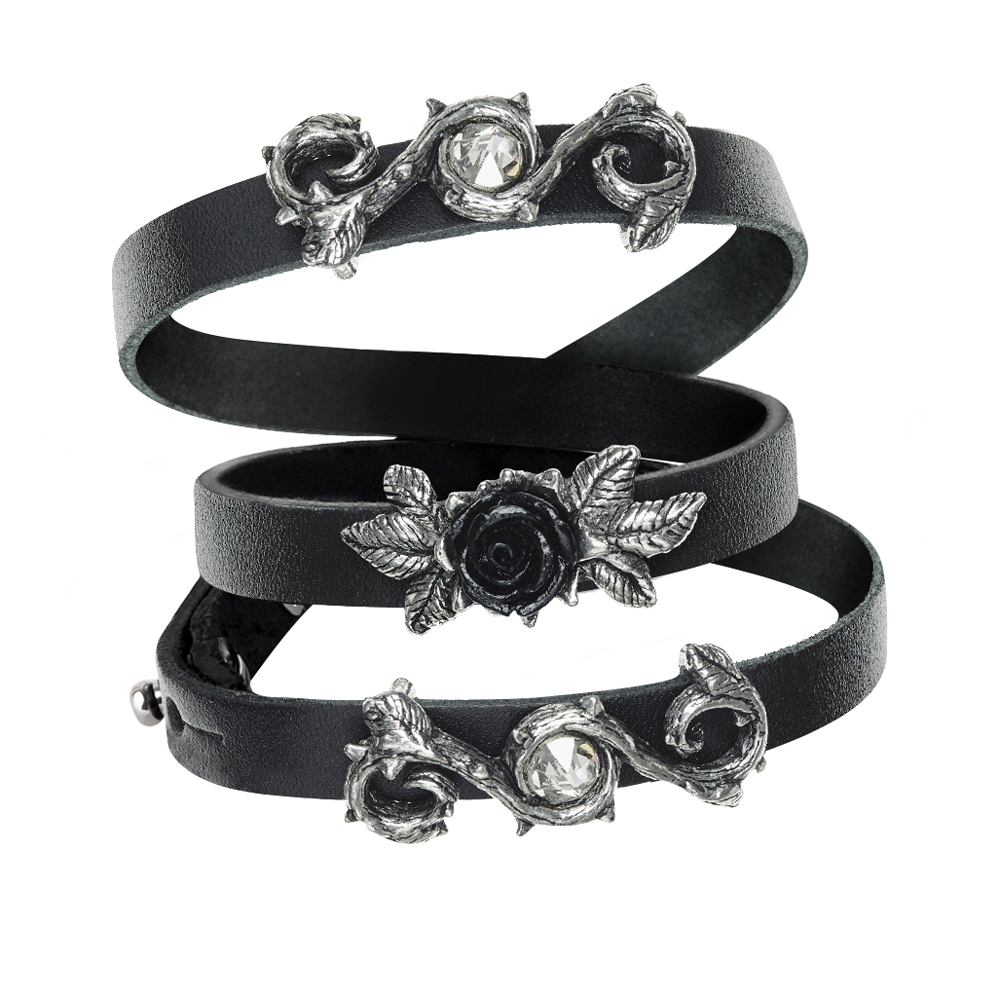 2018 Bracelet Leather Wriststrap Neo-Gothic Rose Men's Bracelet Rose Cross Vintage Bracelet Party Jewelry gothic style faux crystal rose bracelet with ring for women