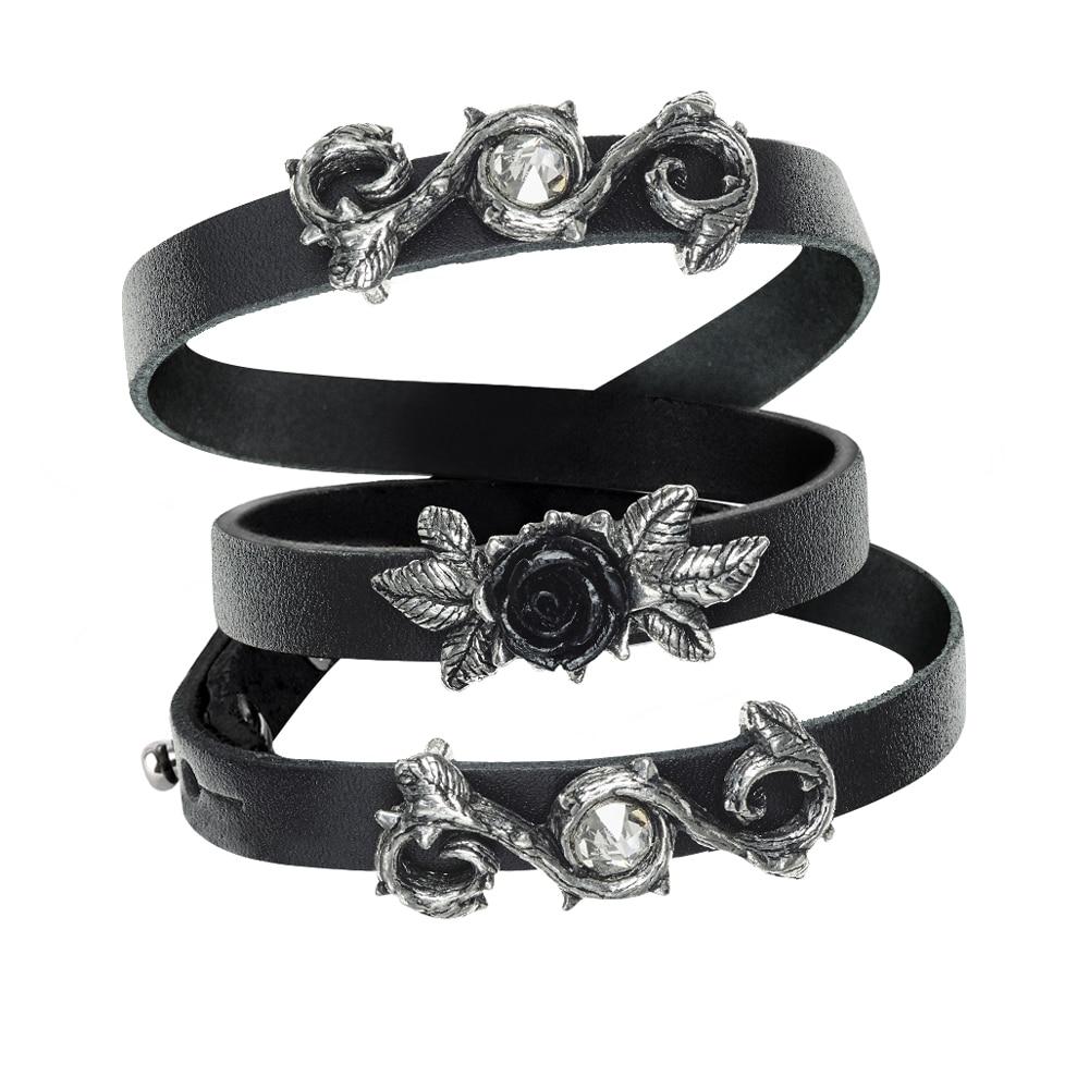 2018 Bracelet en cuir Bracelet néo-gothique Rose pour hommes Bracelet Rose croix Vintage Bracelet bijoux de fête