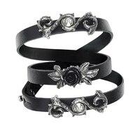 2018 Bracelet Leather Wriststrap Neo Gothic Rose Men's Bracelet Rose Cross Vintage Bracelet Party Jewelry