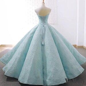 Image 3 - V boyun mavi dantel tül abiye 2020 uzun artı boyutu düğün parti elbise balo resmi elbise zarif balo elbisesi