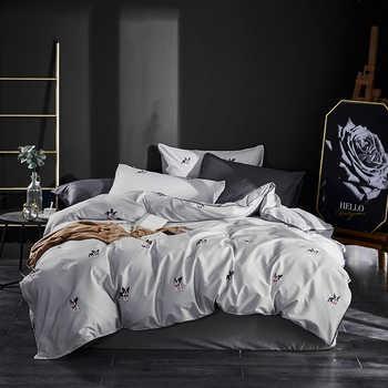 สุนัขน่ารักพิมพ์ผ้าฝ้าย 100% ชุดเครื่องนอนเตียง Queen King size แผ่นผ้านวมแผ่นติดตั้งชุด ropa de cama - DISCOUNT ITEM  43% OFF บ้านและสวน