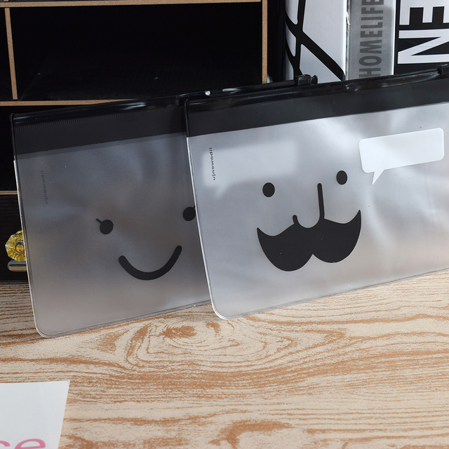 ISKYBOB Transparent Moustache Smile Office Cosmetic Make Up Pencil Bag Pouch Case Cute Cosmetic Cases Free Shipping Cosmetic Bags
