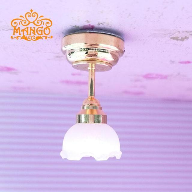 1:12 Dollhouse Miniaturescale Tulipán Blanco Techo de Luz LED Con Pilas envío gratis