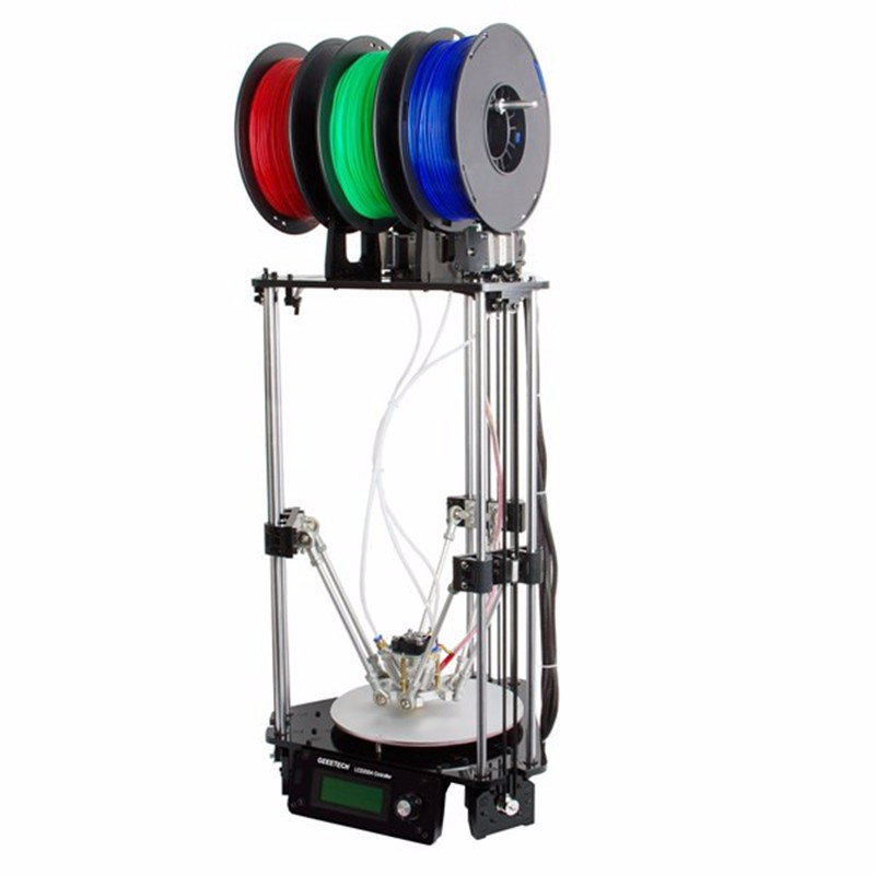 купить Triple-color 3D Printer Kit 3-In-1-Out Extruder Rostock 301 High Precision Quality Metal 1.75mm Filament 0.4mm Nozzle недорого