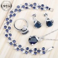 Серебряные 925 Ювелирные наборы для женщин, браслеты/ожерелье/Подвеска/серьги-гвоздики/кольца, свадебный набор с голубыми камнями, коробка