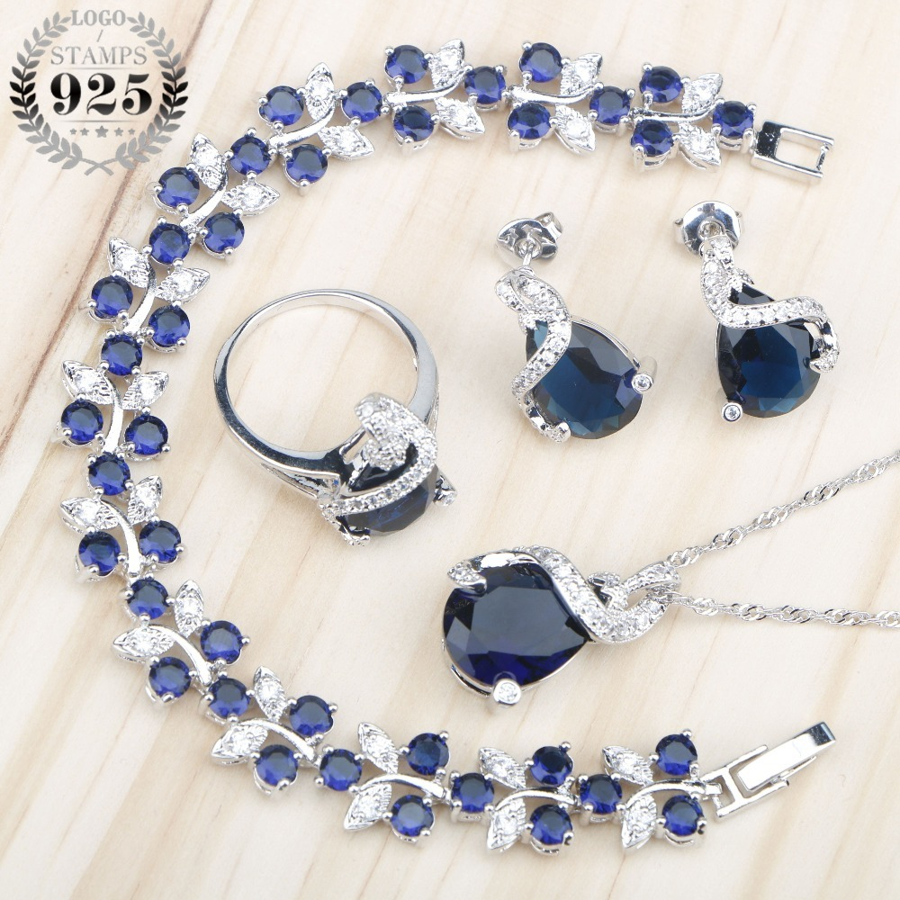 Sliver 925 Costume Jewelry Sets For Women Bracelets/Necklace/Pendant/Stud Earrings/Rings Wedding Set With Blue Stones Free Box orange morganite stylish jewelry set for women white zircon gold color rings earrings necklace pendant bracelets