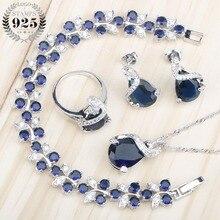 Blue Cubic Zirconia Stones Jewelry Sets 925 Sterling Sliver Bracelets/Necklace/Pendant/Stud Earrings/Rings For Women option 4PCS