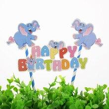 1pc DIY Cartoon Blue Elephants Happy Birthday Cake Flag Boy Baby Shower Topper Party Baking Decor