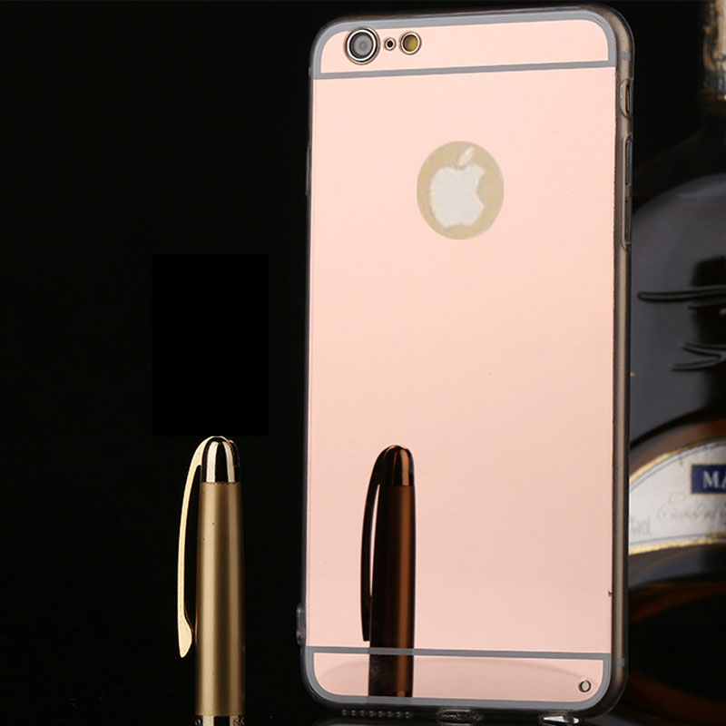 Luxury Beauty Lady Makeup Mirror Soft TPU Phone Case for iPhone 5 5S SE 6 6S Plus Plating Cover Girl Women Black Rose Gold