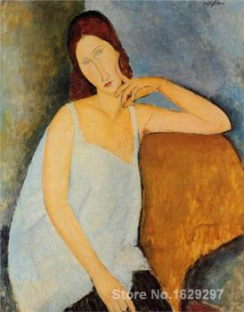 Modern painting on canvas portrait of jeanne hebuterne Amedeo Modigliani High quality Hand painted image