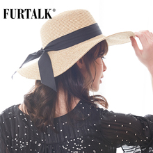 FURTALK Summer Hat for Women Straw Hats Wide Brim Sun Beach Hat SH039