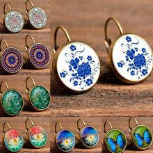 Yobest Boho flor Stud pendientes para mujeres Vintage joyería patrón geométrico pendientes redondos Bijoux boucles d'oreilles bohemia