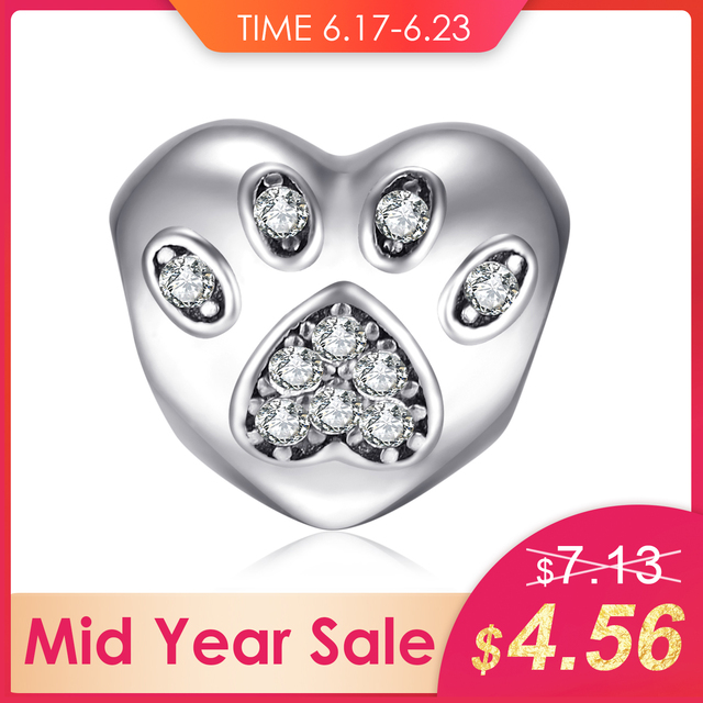 Jewelrypalace 925 Sterling Silver Puppy Palm Heart Cubic Zirconia Pet Beads Charms Fit Bracelets Gifts For Women Fashion Jewelry