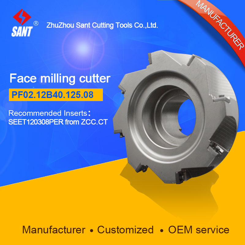 Refer to FMP02-125-B40-SE12-08 ,Zhuzhou Sant Face Milling Cutter PF02.12B40.125.08 for carbide Inserts SEET120308PER yw1 4160511 zhuzhou zccct cemented carbide 30pcs box milling machine clip blade square face milling cutter for stainless steel