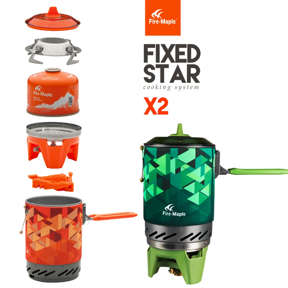 Fire Maple fms-x2 Compact One-Piece Camping Gas Stove Set Heat Exchanger Pot Flash Personal Cooking System X2 fast to Russia fire maple fms 300t mini titanium gas stove 2600w