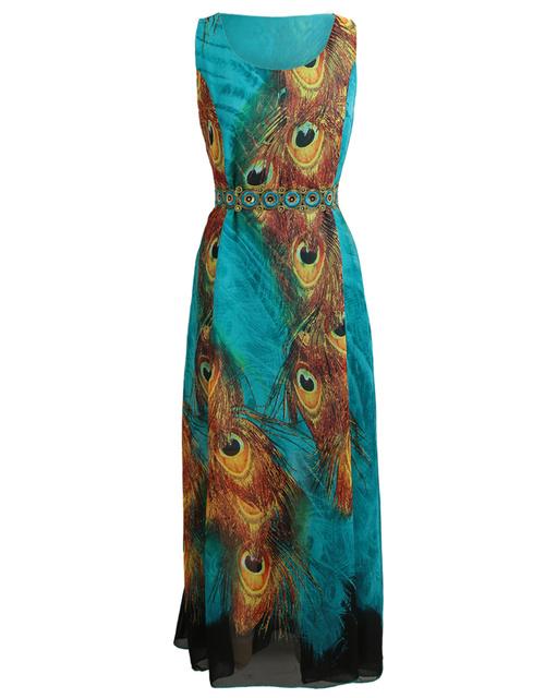 Feather Print Women Maxi Dress Sexy Sleeveless Autumn Long Beach Dress
