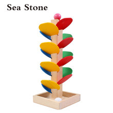 3D Wooden Montessori Toys Wooden Tree Marble Ball Run Track Game Wooden Toys for Children Intelligence Early Educational Toys