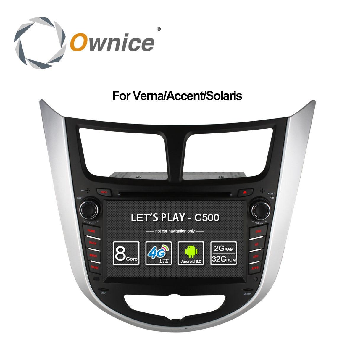 Ownice C500 Octa 8 Core Android 6.0 lecteur DVD de VOITURE pour Hyundai Solaris accent Verna i25 avec GPS BT radio wifi 4G LTE Réseau