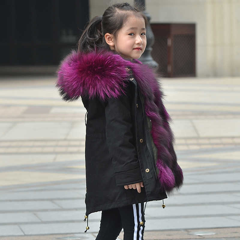 e013e434610cd Children Fox Fur Liner Coat Detachable Jackets Girls Winter Warm Parkas  Raccoon Fur Hooded Boys Fur