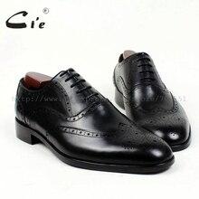 Cie toe vòng brogues bespoke giày nam giới tuỳ chỉnh handmade tinh khiết chính hãng bê đế ngoài bằng da đàn ông ăn mặc oxford bằng phẳng màu đen shoeOX409