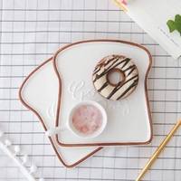 Good Day For Yourself Toast Shape Food Plates For Dinner Tray Ceramic Plates Creative Dinnerware Kitchen