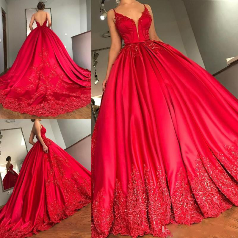 Luxury Red A-Line Prom   Dresses   Sexy Spaghetti V Neck Lace Appliqued Beads Court Train Formal   Evening   Gowns   Evening     Dress