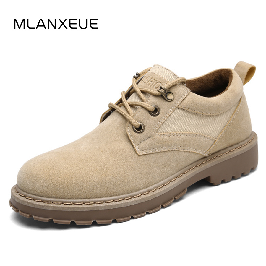 MLANXEUE Retro Leather Men Martin Boots Shoes Men Fashion Suede Man Ankle Boots 2018 Autumn Warm Male Boots Non-slip Black Shoe