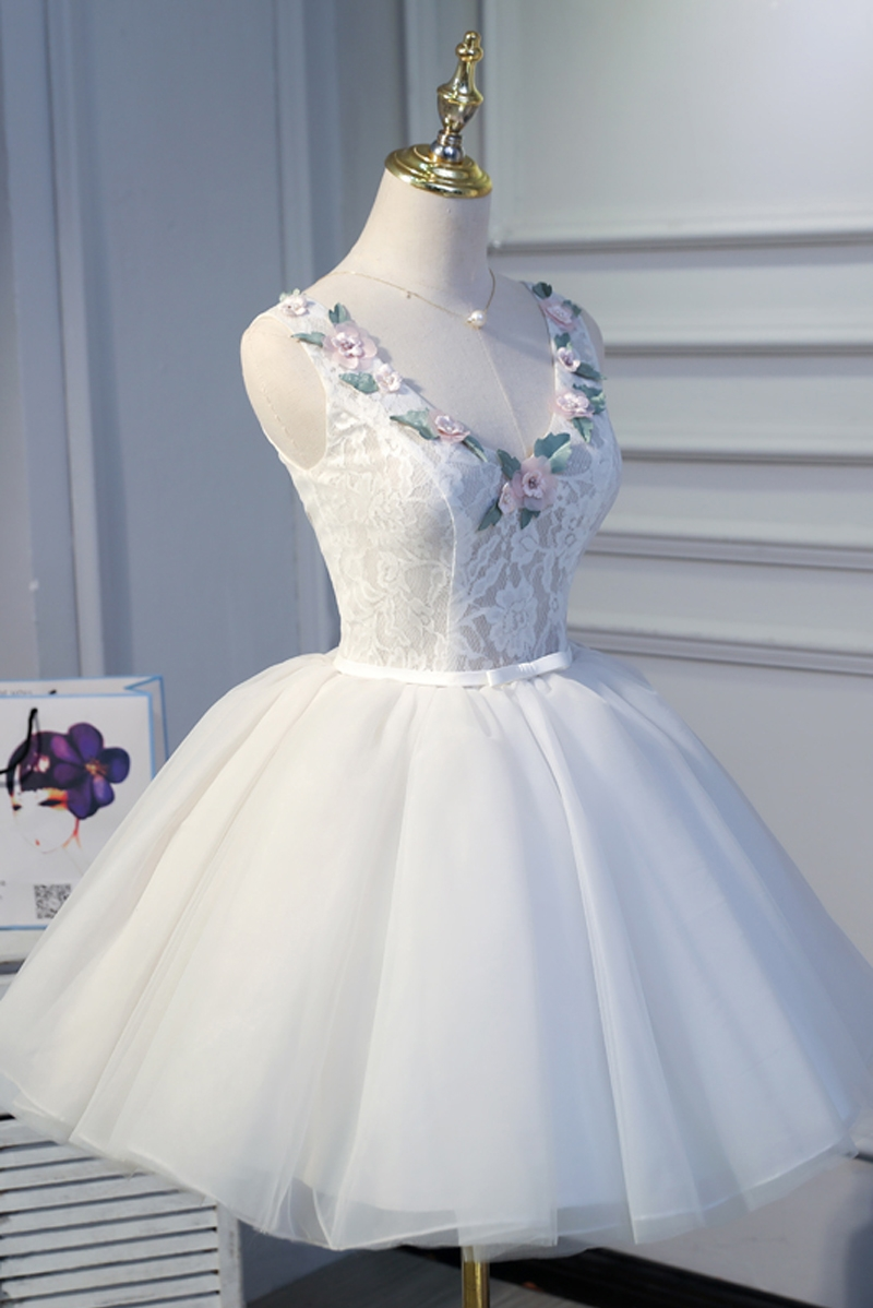 100%real white collar cutting flowers beading /fairy fancy dress short ball gown/short lolita dress/can customs size