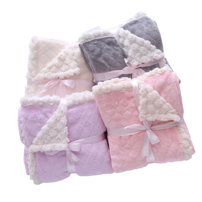 Home Textile Sunny Winter Plush Plaid On Sofa Decorative Fleece Blankets Pink Purple White Fluffy Throw Blanket For Bed Mantas Para Sofa Decorativa