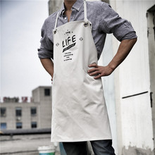 Letter Fashion Chef Kitchen Aprons For Men Women Adult White Apron Cotton Work Antifouling Korean Waist Apron With Pockets