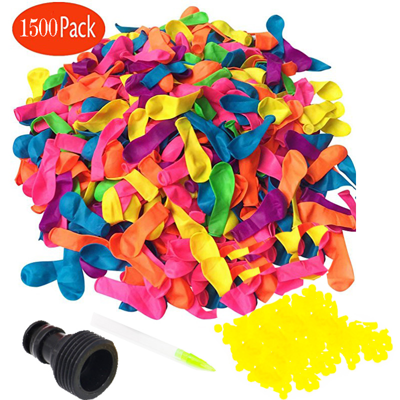 1500 Pack Water Balloons with Refill Kits, Latex Water Bomb Balloons Fight Games - Summer Splash Fun for Kids & Adults