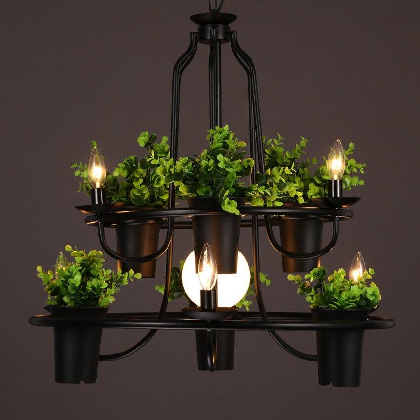Nordic 4/7 head plant pot Art decor chandelier dia 50/70 cm creative living room restaurant cafe bar wrought iron pendant lamp