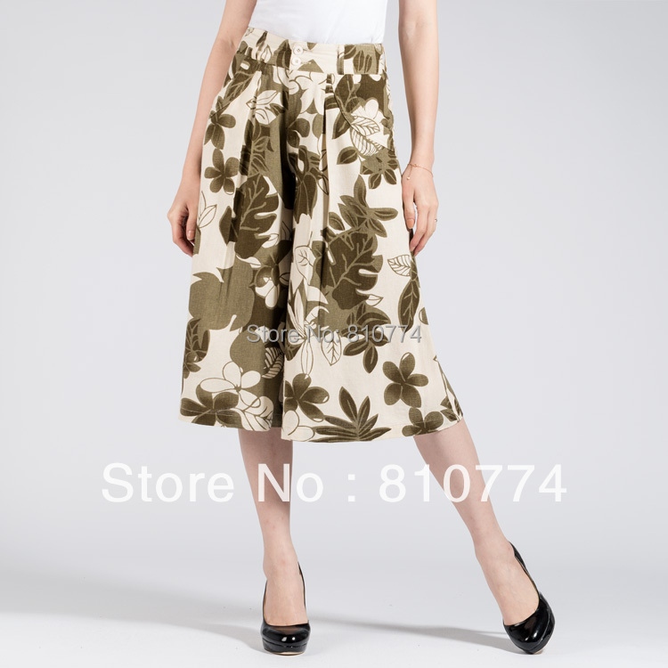 2018 high waist summer fluid female trousers linen plus size skorts linen   capris   culottes print wide leg   pants