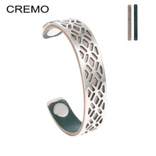 Cremo Fishnet Stainless Steel Bracelets & Bangles For Women Bijoux 14mm Leather Cuff Bracelets Femme Personalized Mesh Pulseira(China)