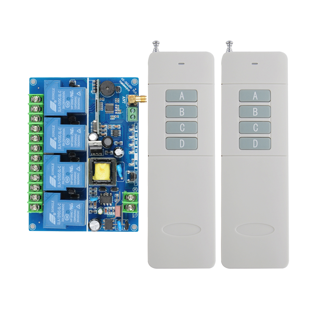 220V 4CH 30A RF Wireless Remote Control System Radio Wireless Lighting Switch 2PCS Long Distance Remote  For Industry Equipment 220V 4CH 30A RF Wireless Remote Control System Radio Wireless Lighting Switch 2PCS Long Distance Remote  For Industry Equipment