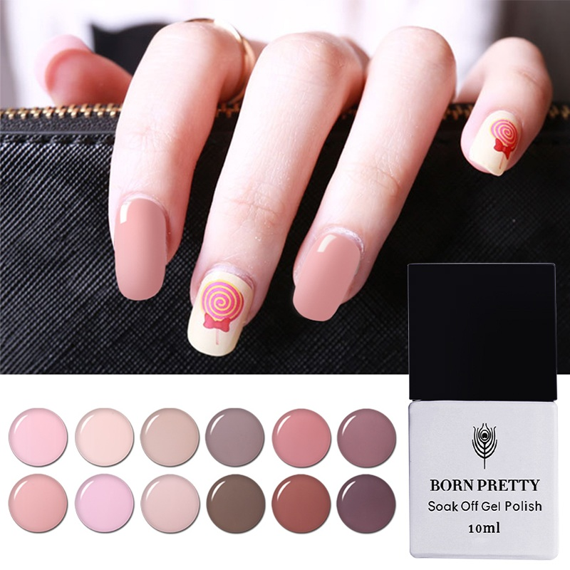 BORN PRETTY 10ml Sock Off Nail Art Gel Nude Color Series UV Gel ...