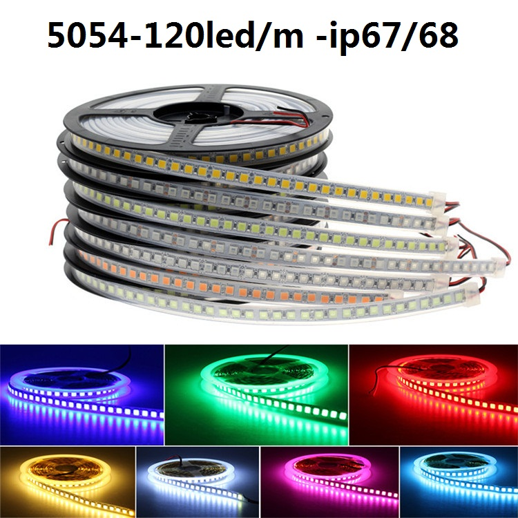DC12v 5M LED Strip 5054 120leds/m SMD RGB Led Tape Waterproof Ip67 Ip68 Tube Led Stripe Bar Light String Underwater Led