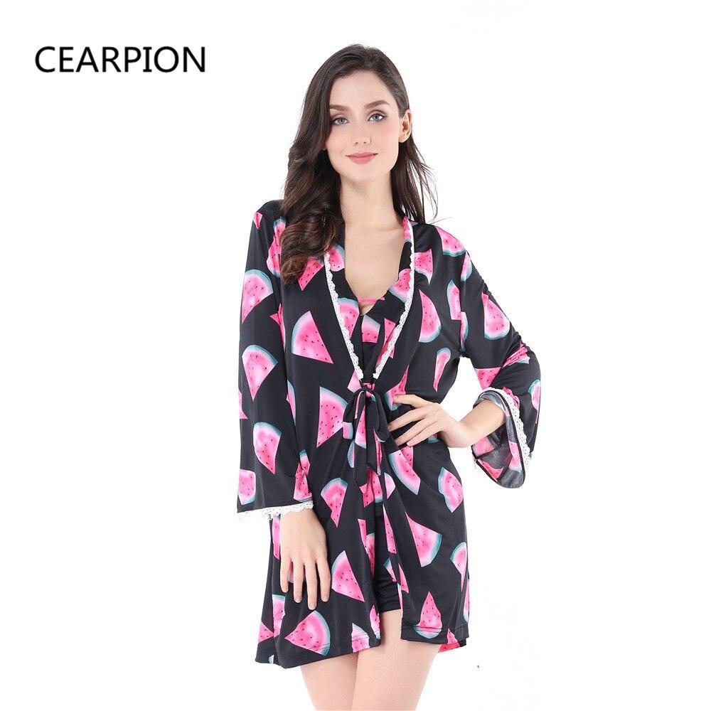 Cearpion women kimono bath robe set sleepwear sexy lady pijama nightwear  flower nightgown pajama gown with e7bb0547e