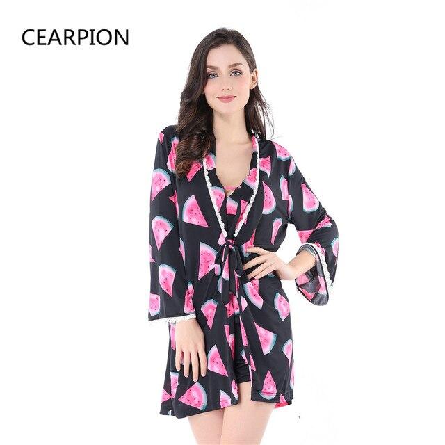 ae60043823f8 CEARPION Women 3PCS Kimono Bath Robe Set Sleepwear Sexy Lady Pijama  Nightwear Flower Nightgown Pajama Gown With Bra M L XL