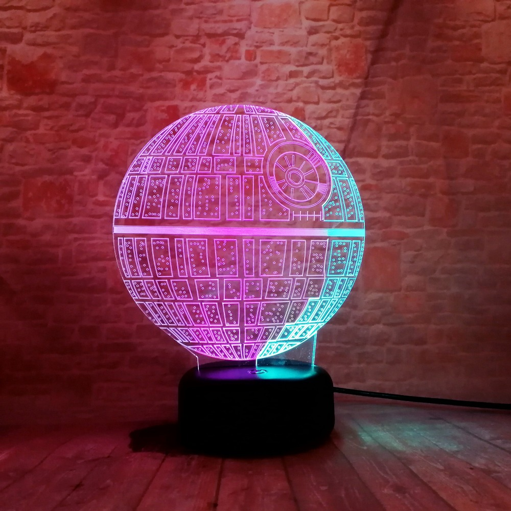 Death Star Mixed Two Colored Table Lamp Optical Illusion Visual Led ...