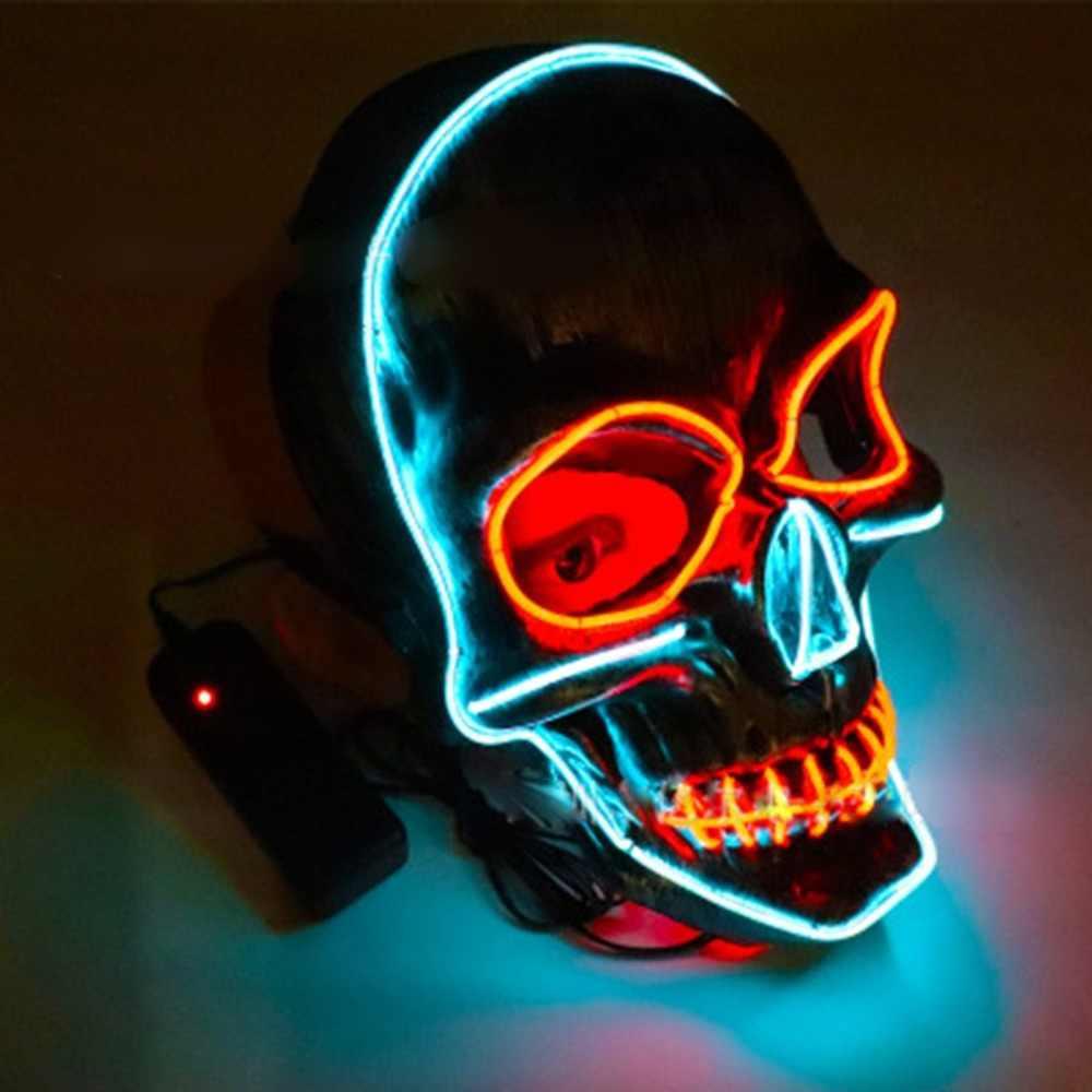 2018 Halloween LED Bercahaya Masker Masquerade Masker Horor Teror Cahaya Dingin Topeng Halloween Pesta Kostum Bermain Prop Panas