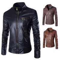 2018 Newest Motorcycle Leather Jackets Men Solid Business Casual Coats Autumn Winter Leather Clothing Bomber Jacket