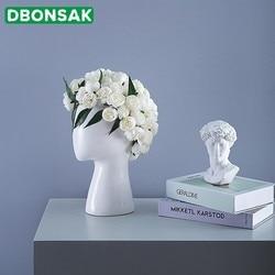 Cabeça humana forma vaso de cerâmica buraco redondo arranjo flor casa sala estar design casamento decoração branco preto vaso flor