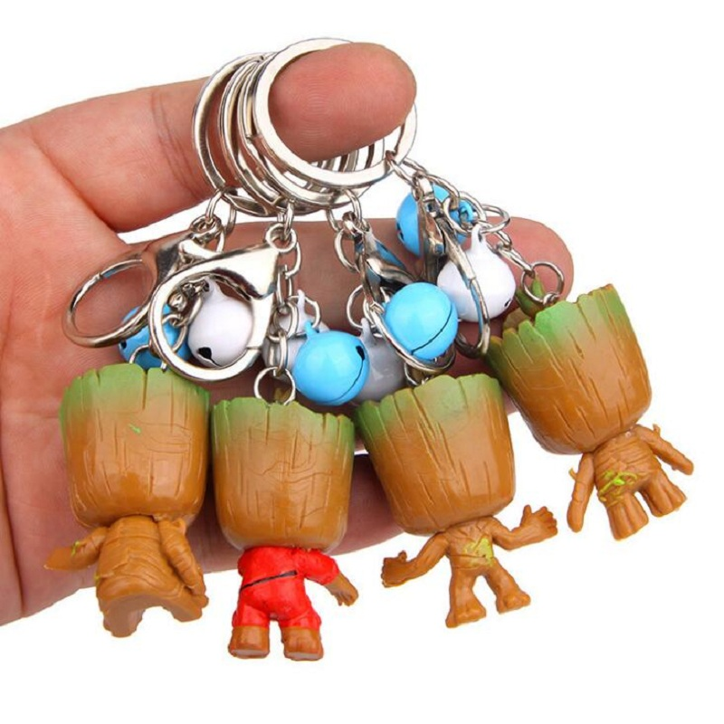 Stuffed Animals & Plush Plush Keychains Q Version Galaxy Guard Tree Groot Toy Bt21 Bell Keychain 4 Style Creative Pvc Keychain Childrens Gift Aromatic Character And Agreeable Taste
