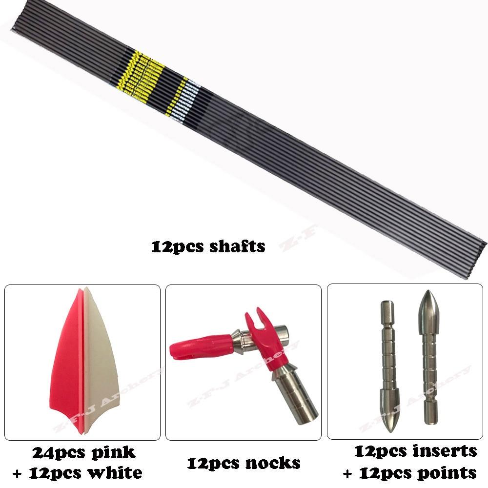 Spine 500 600 700 800 900 Deer Crossing DIY Carbon Arrows Stainless Steel Tips Plastic Vanes