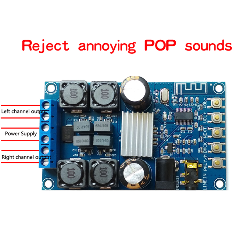Bluetooth Bordo Amplificatore Digitale A Doppio Canale 50 w * 2 Amplificatore Audio con Borsette senza suono POP